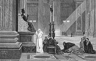 [Oración del Papa ante San Pedro en el Vaticano. Grabado del siglo XIX]