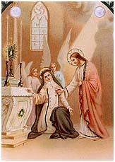 [Estampa antigua de Santa Catalina de Siena recibiendo el Sagrado Corazón de Jesús]