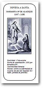 [Portada del folleto con la novena en honor de Santa Margarita María de Alacoque]
